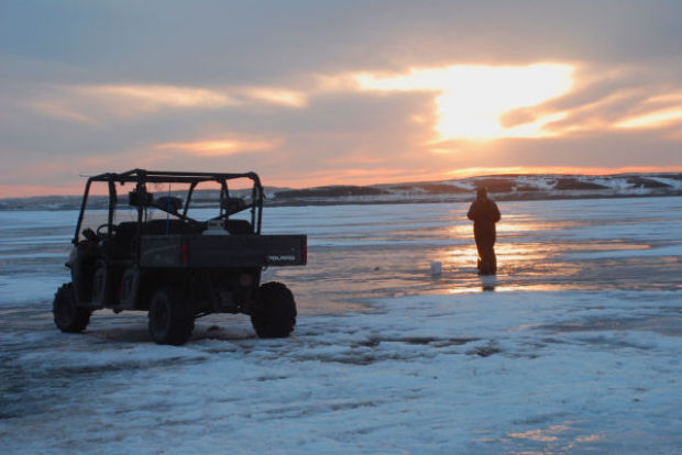 Sunset on the Ice-Oahe